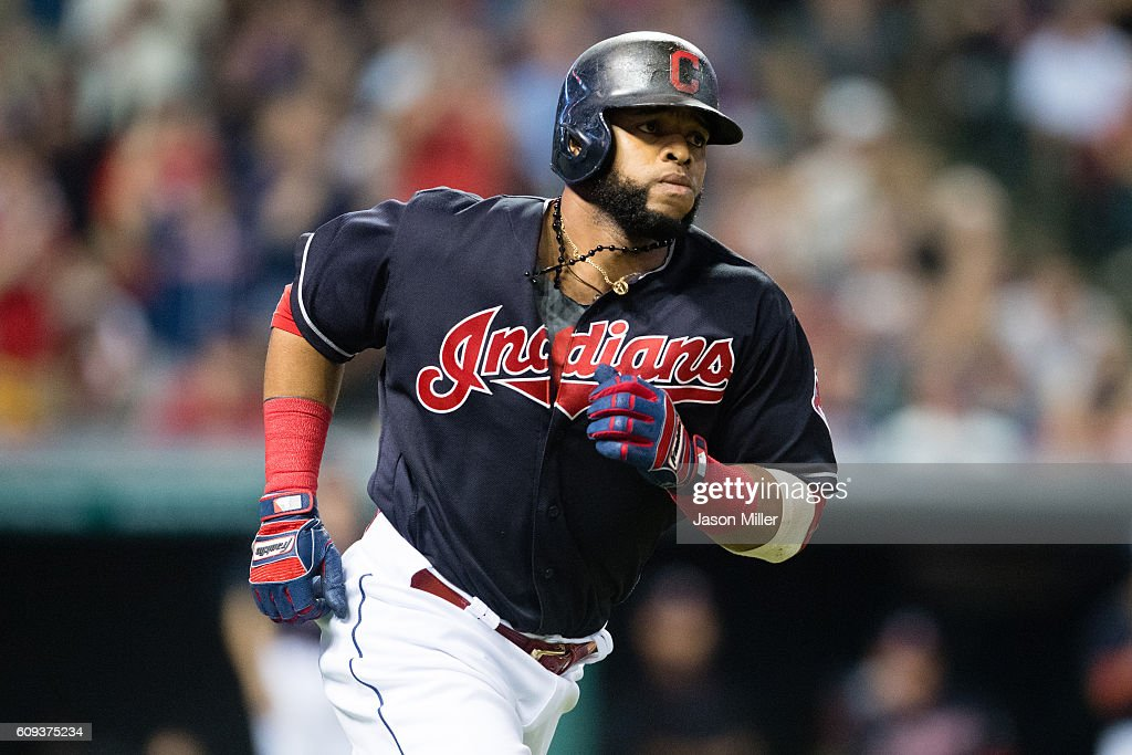 Carlos Santana #41 of the Cleveland Indians rounds the bases after hitting a solo home run during the third inning against the Kansas City Royals at Progressive Field on September 20, 2016 in Cleveland, Ohio.