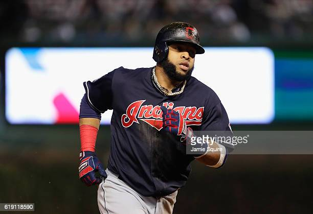 Carlos Santana of the Cleveland Indians rounds the bases after hitting a home run in the second inning against the Chicago Cubs in Game Four of the...