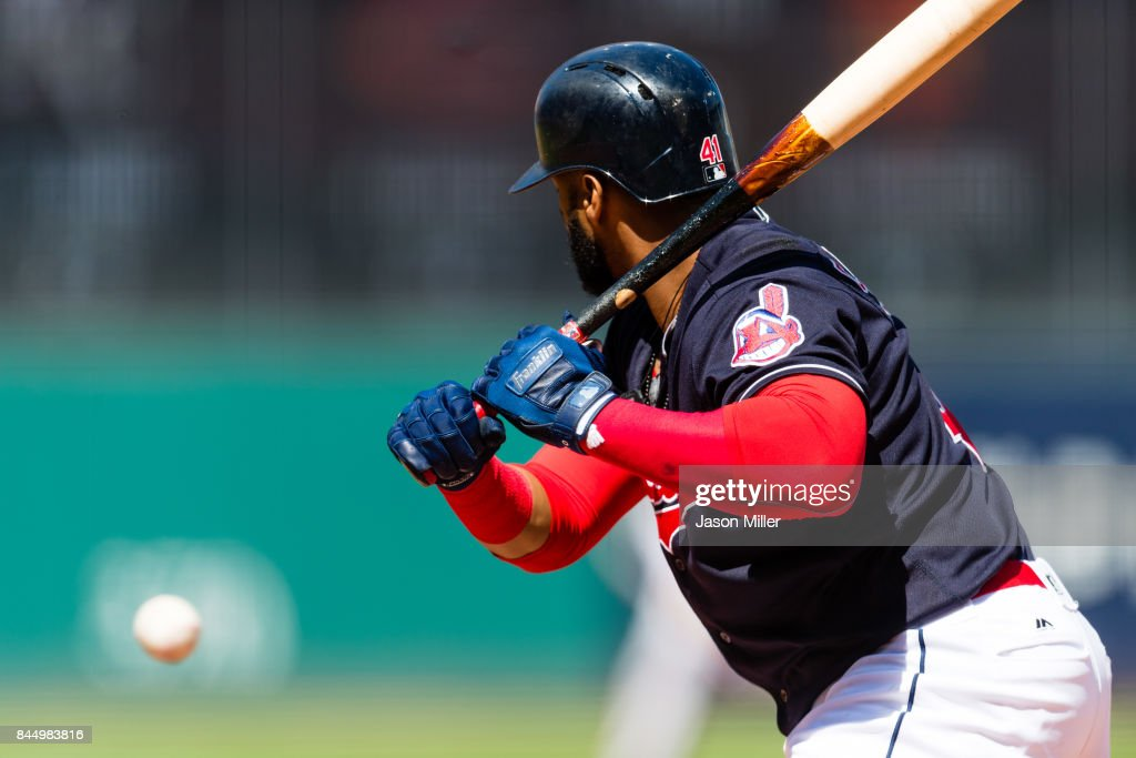 Carlos Santana #41 of the Cleveland Indians watches a ball during the first inning against the Baltimore Orioles at Progressive Field on September 9, 2017 in Cleveland, Ohio.