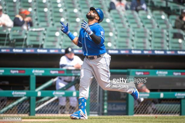 Carlos Santana of the Kansas City Royals celebrates a home run against the Detroit Tigers during the top of the third inning at Comerica Park on...