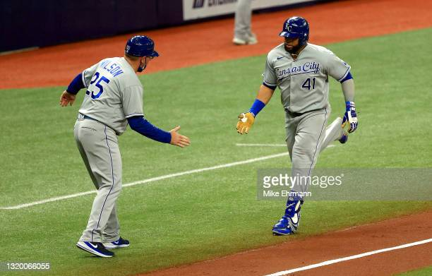 Carlos Santana of the Kansas City Royals rounds the bases in the fourth inning after hitting a solo home run during a game against the Tampa Bay Rays...