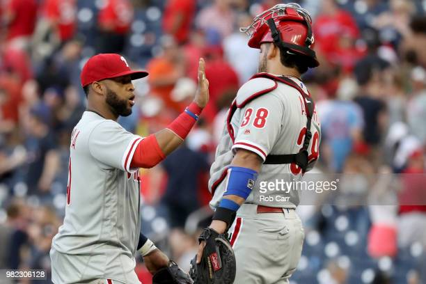 Carlos Santana of the Philadelphia Phillies and Jorge Alfaro celebrate following the Phillies 53 win over the Washington Nationals at Nationals Park...