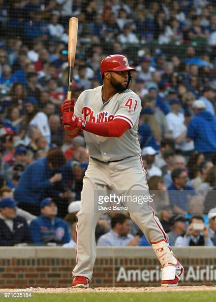 Carlos Santana of the Philadelphia Phillies bats against the Chicago Cubs on June 6 2018 at Wrigley Field in Chicago Illinois The Cubs won 75