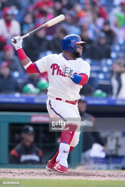 Carlos Santana of the Philadelphia Phillies bats against the Miami Marlins at Citizens Bank Park on April 8 2018 in Philadelphia Pennsylvania Carlos...