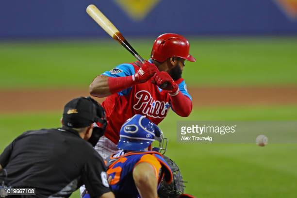 Carlos Santana of the Philadelphia Phillies bats during the 2018 Little League Classic against the New York Mets at Historic Bowman Field on Sunday...