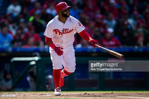 Carlos Santana of the Philadelphia Phillies bats during the game against the Miami Marlins at Citizens Bank Park on Thursday April 5 2018 in...