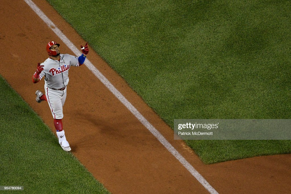 Carlos Santana #41 of the Philadelphia Phillies celebrates after hitting a two-run home run in the sixth inning against the Washington Nationals at Nationals Park on May 4, 2018 in Washington, DC.