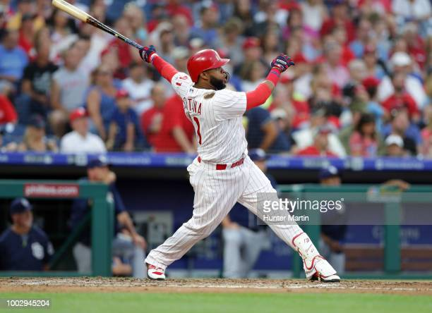 Carlos Santana of the Philadelphia Phillies hits a threerun home run in the second inning during a game against the San Diego Padres at Citizens Bank...