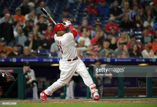 Carlos Santana of the Philadelphia Phillies hits a threerun home run in the fifth inning during a game against the San Francisco Giants at Citizens...