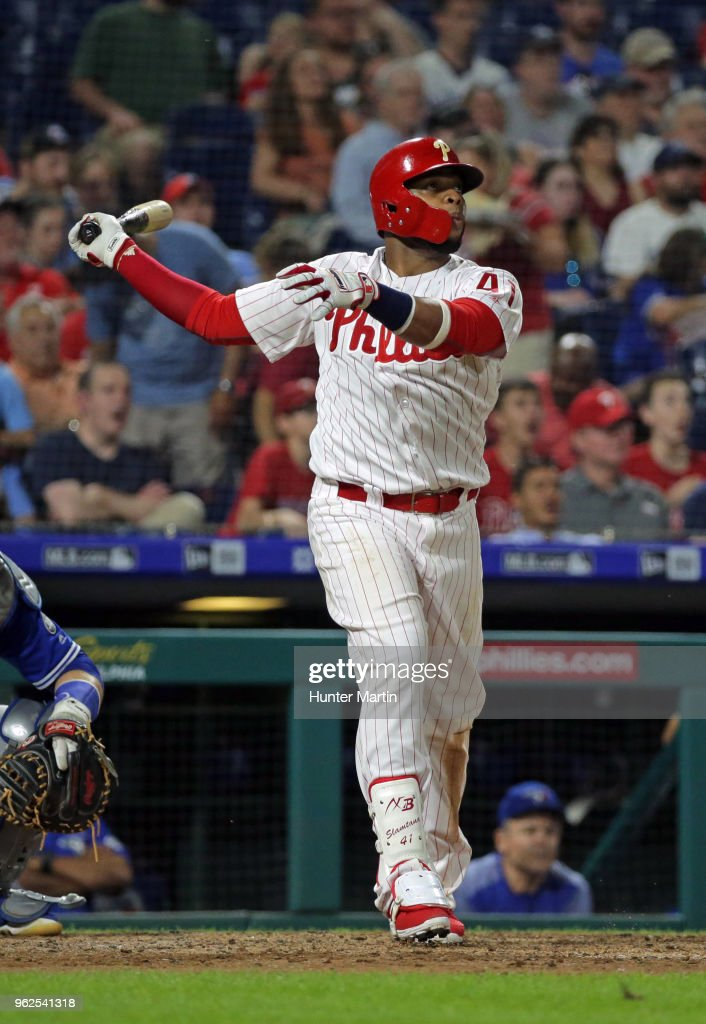 Carlos Santana #41 of the Philadelphia Phillies hits a two-run home run in the sixth inning during a game against the Toronto Blue Jays at Citizens Bank Park on May 25, 2018 in Philadelphia, Pennsylvania. The Blue Jays won 6-5.