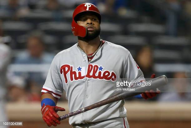 Carlos Santana of the Philadelphia Phillies in action against the New York Mets at Citi Field on September 7 2018 in the Flushing neighborhood of the...