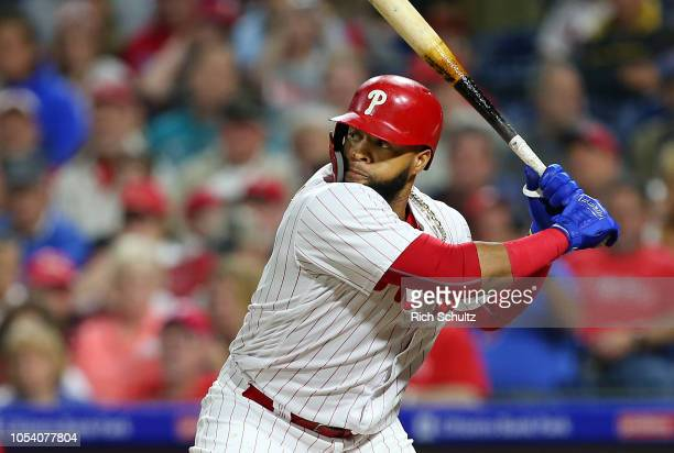 Carlos Santana of the Philadelphia Phillies in action against the Atlanta Braves during a game at Citizens Bank Park on September 29 2018 in...