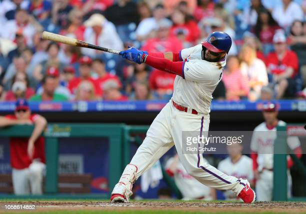 Carlos Santana of the Philadelphia Phillies in action against the Atlanta Braves during of a game at Citizens Bank Park on September 30 2018 in...