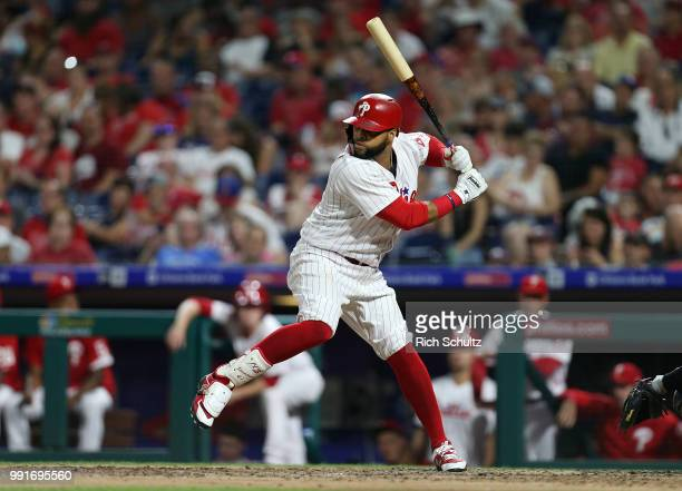 Carlos Santana of the Philadelphia Phillies in action against the Washington Nationals during a game at Citizens Bank Park on June 29 2018 in...