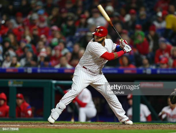 Carlos Santana of the Philadelphia Phillies in action during a game against the Miami Marlins at Citizens Bank Park on April 7 2018 in Philadelphia...