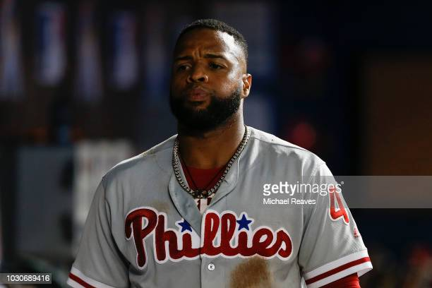 Carlos Santana of the Philadelphia Phillies looks on against the Miami Marlins at Marlins Park on September 3 2018 in Miami Florida
