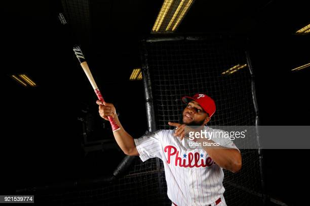 Carlos Santana of the Philadelphia Phillies poses for a portrait on February 20 2018 at Spectrum Field in Clearwater Florida
