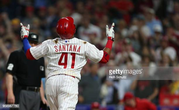 Carlos Santana of the Philadelphia Phillies reacts after he hit a home run against the San Francisco Giants during the sixth inning of a game at...