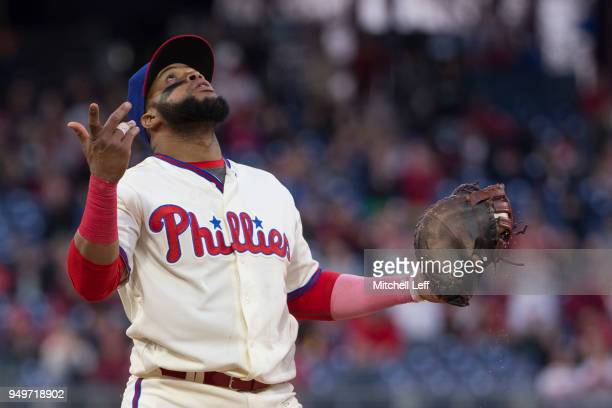 Carlos Santana of the Philadelphia Phillies reacts after recording the final out of the game against the Pittsburgh Pirates at Citizens Bank Park on...