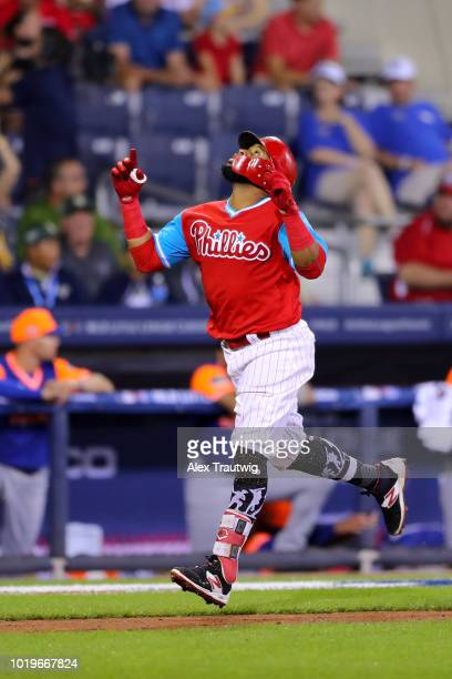 Carlos Santana of the Philadelphia Phillies rounds the bases after hitting a tworun home run in the sixth inning during the 2018 Little League...