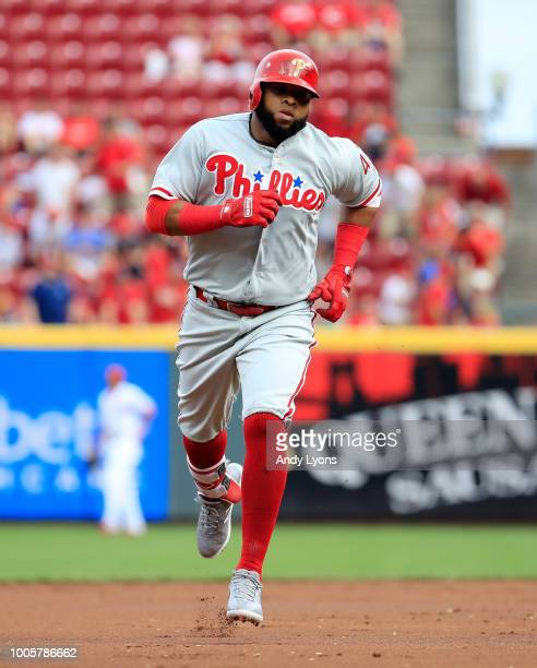 Carlos Santana of the Philadelphia Phillies runs the bases after hitting a home run in the first inning against the Cincinnati Reds at Great American...