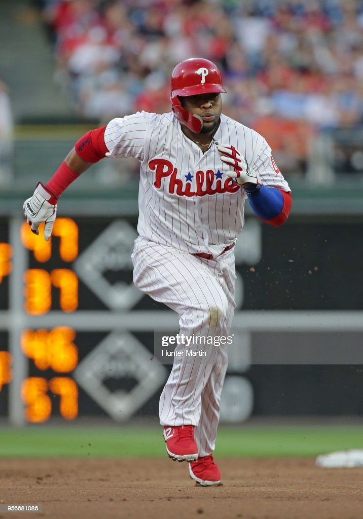 Carlos Santana #41 of the Philadelphia Phillies runs to third base on a wild pitch in the first inning during a game against the San Francisco Giants at Citizens Bank Park on May 9, 2018 in Philadelphia, Pennsylvania. The Phillies won 11-3.