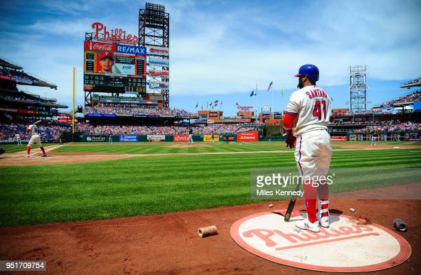 Carlos Santana of the Philadelphia Phillies waits on deck against the Pittsburgh Pirates during the first inning at Citizens Bank Park on April 22...