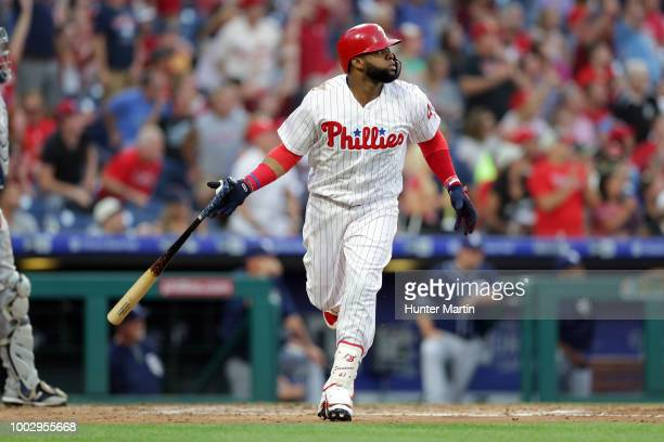 Carlos Santana of the Philadelphia Phillies watches his threerun home run in the second inning during a game against the San Diego Padres at Citizens...