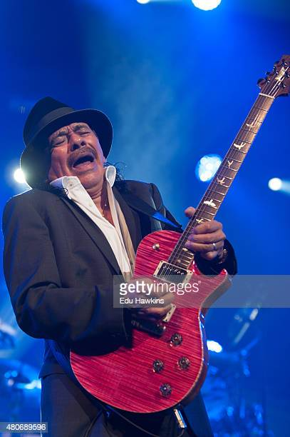 Carlos Santana performs on stage at Auditorium Stravinski on July 14 2015 in Montreux Switzerland