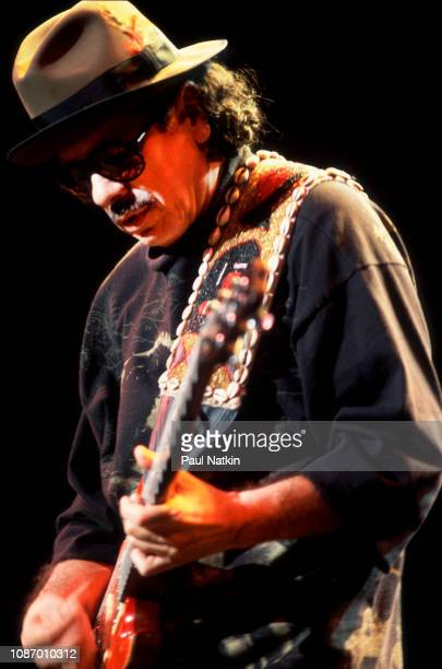Carlos Santana performs on stage at the World Music Theater in Tinley Park Illinois September 1 2000