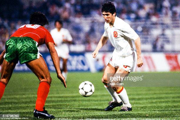 Carlos Santillana of Spain during the Football European Championship between Portugal and Spain Marseille France on 17 June 1984