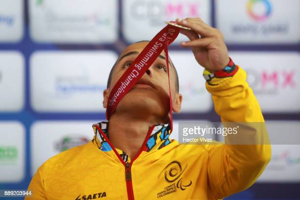 Carlos Serrano of Colombia Gold Medal celebrates in men's 200 m Freestyle SM7 during day 7 of the Para Swimming World Championship Mexico City 2017...