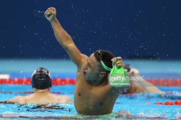 Carlos Serrano Zarate of Colombia celebrates winning the gold medal in the Men's 100m Breaststroke SB7 Final on day 3 of the Rio 2016 Paralympic...