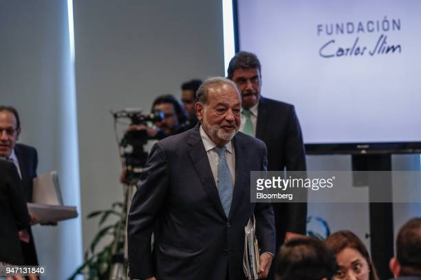 Carlos Slim chairman emeritus of America Movil SAB arrives to speak at a press conference in Mexico City Mexico on Monday April 16 2018 Slim said...