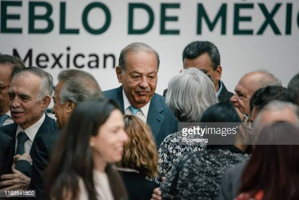 Carlos Slim chairman emeritus of America Movil SAB center arrives for the first annual state of the nation report by Andres Manuel Lopez Obrador...