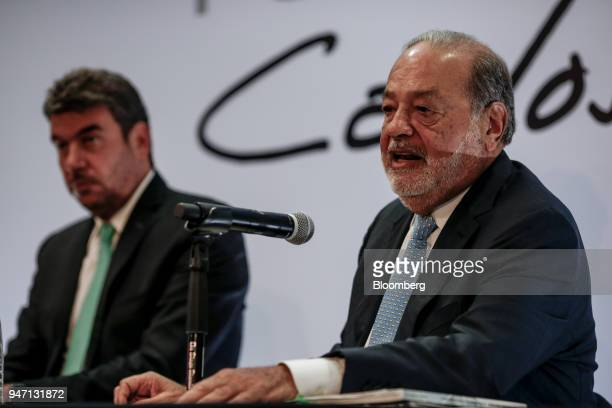 Carlos Slim chairman emeritus of America Movil SAB right speaks during a press conference in Mexico City Mexico on Monday April 16 2018 Slim said...