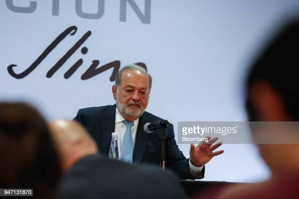 Carlos Slim chairman emeritus of America Movil SAB speaks during a press conference in Mexico City Mexico on Monday April 16 2018 Slim said that...