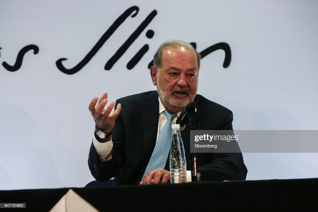 Carlos Slim, chairman emeritus of America Movil SAB, speaks during a press conference in Mexico City, Mexico, on Monday, April 16, 2018. Slim said that Mexico has plenty of advantages in the NAFTA negotiations. Photographer: Alejandro Cegarra/Bloomberg via Getty Images