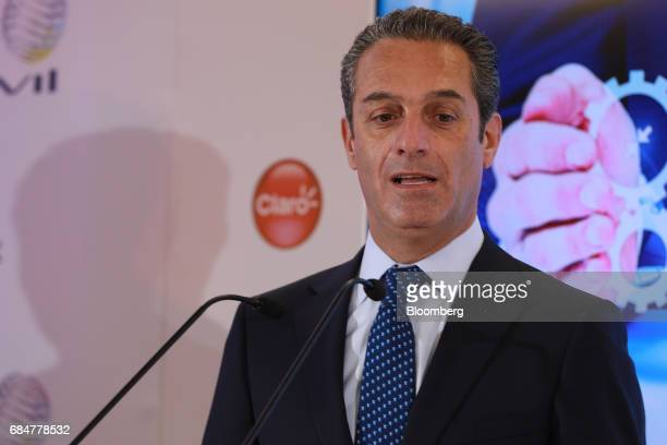 Carlos Slim Domit chairman of America Movil SAB speaks during a press conference at the company's headquarters in Mexico City Mexico on Thursday May...