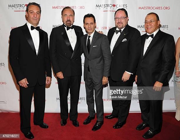 Carlos Slim Dormit Jorge Perez Marc Anthony President of Goya Foods Robert Unanue and Henry Cardenas attend the Maestro Cares First Annual Gala at...