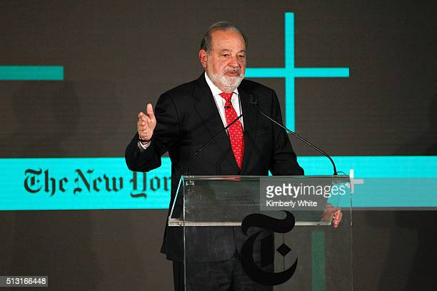 Carlos Slim Helu Chairman of Grupo Carso speaks onstage at The New York Times New Work Summit on February 29 2016 in Half Moon Bay California