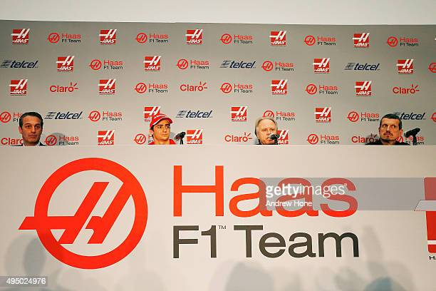 Carlos Slim Jr Team sponsor Esteban Gutierrez Gene Haas founder and chairman and Guenther Steiner team principal of Haas F1 Team during their driver...