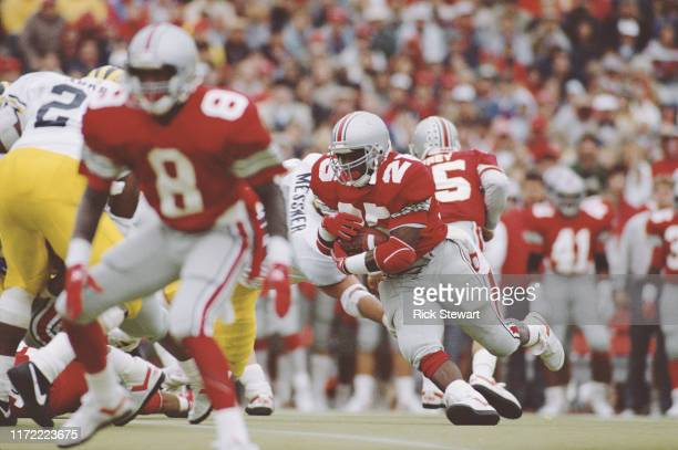 Carlos Snow Running Back for the Ohio State Buckeyes runs the ball during the NCAA Big Ten Conference college football game against the University of...