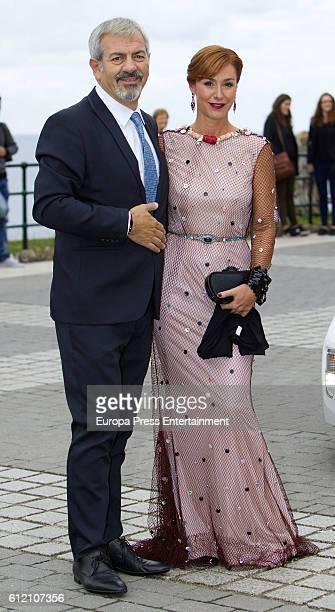 Carlos Sobera and Patricia Santamarina attend the wedding ceremony of Marta Hazas and Javier Veiga at Palacio de la Magdalena on October 1 2016 in...