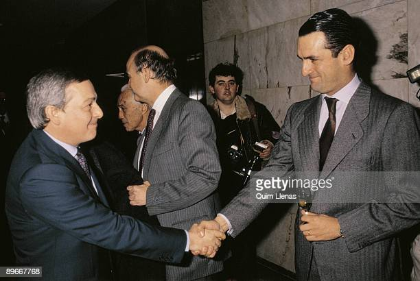 Carlos Solchaga and Mario Conde The minister of Economy shake hands with the banker