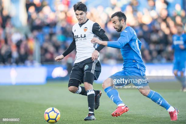 Carlos Soler Barragan of Valencia CF in action during the La Liga 201718 match between Getafe CF and Valencia CF at Coliseum Alfonso Perez on 03...