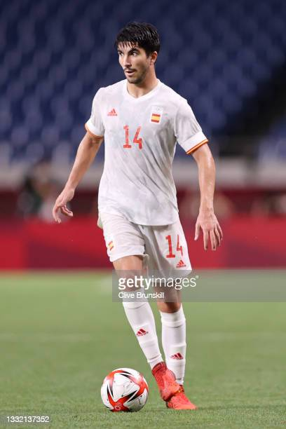 Carlos Soler of Team Spain in possession during the Men's Football Semi-final match between Japan and Spain on day eleven of the Tokyo 2020 Olympic...