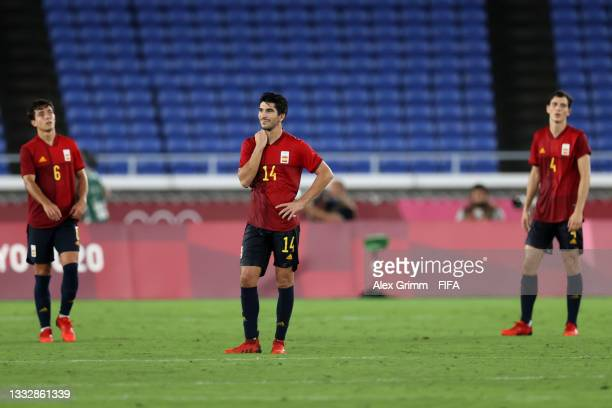 Carlos Soler of Team Spain looks dejected after their side concedes a second goal scored by Malcom of Team Brazil during the Men's Gold Medal Match...