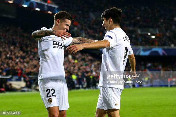 Carlos Soler of Valencia celebrates after scoring a goal to make it 10 during the UEFA Champions League Group H match between Valencia and Manchester...