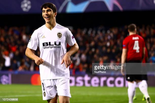Carlos Soler of Valencia CF celebrate after scoring the 10 goal during UEFA Champions League Group H between Valencia CF and Manchester United at...